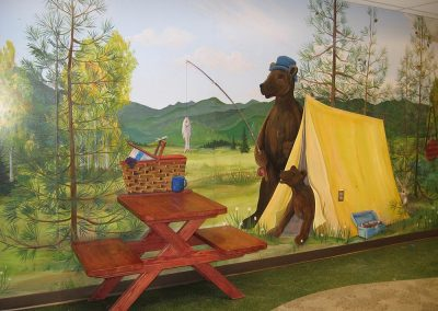 Camp Ground Mural with 3-D Bench