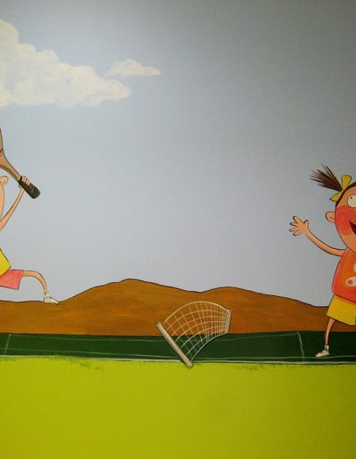 Girls Playing Tennis Mural